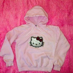 Hello kitty bling rhinestone glitter hoodie small